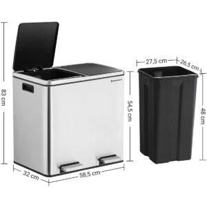 Poubelle de Tri Sélectif 2 x 24 L en Acier Double Compartiment au meilleur prix